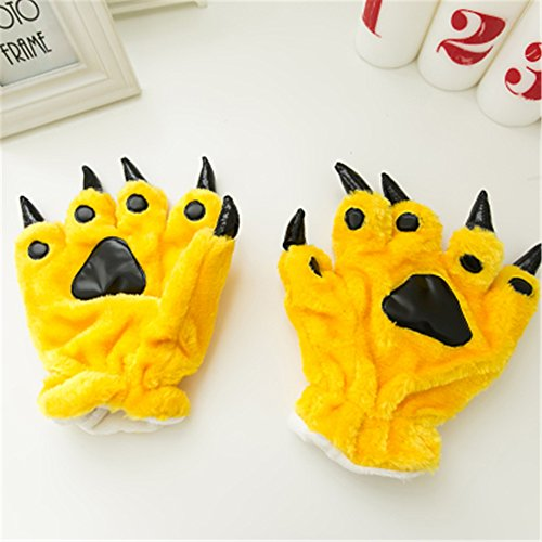 Colorful Color Halloween Theme Glove Paws Furry Realistic Sharp Claws Tiger Cat Fox Dinosaur Cosplay (Yellow)