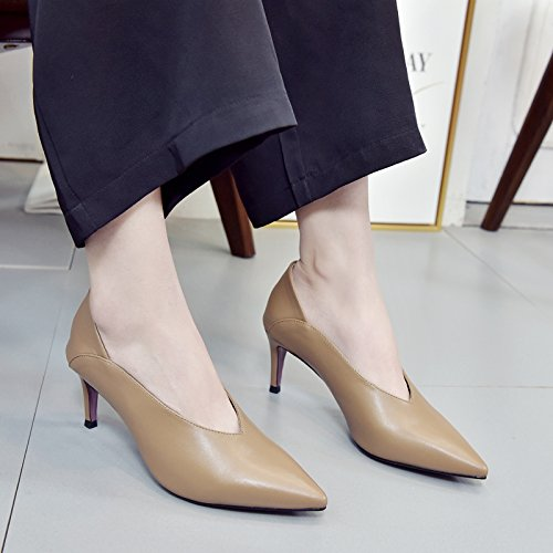 38 Color The 7Cm Tip Spring Elegant Single Leisure Video Shaped Heeled Shoes Work And Deep Lady Shoes Grandma V Port Followed Retro Fine Thin High MDRW Shoes 8q6HFF