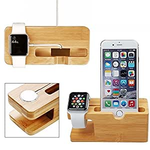 [Free Your Hands] CoolPlus Cell Phone Charger Dock with Watch Holder Desk Wooden Charging Stand Bracket Docking Station Charges Apple iWatch 38mm 42mm iPhone Also Support Samsung LG,100% Natural Wood