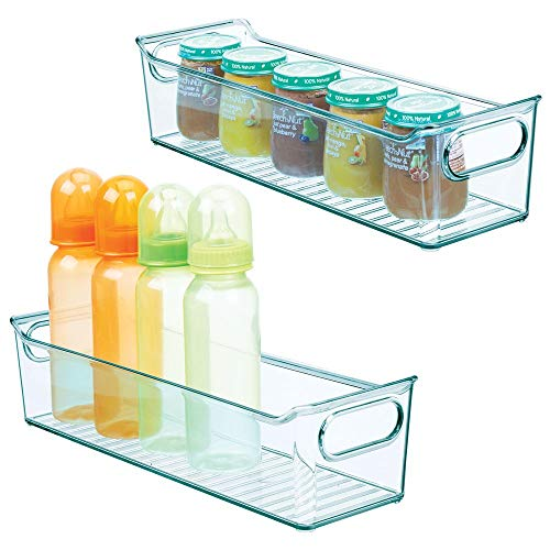 """mDesign Storage Organizer Container Bin with Handles for Kids/Child Supplies in Kitchen, Pantry, Nursery, Bedroom, Playroom - Holds Snacks, Bottles, Baby Food - BPA Free, 14"""" Long, 2 Pack - Sea Blue"""