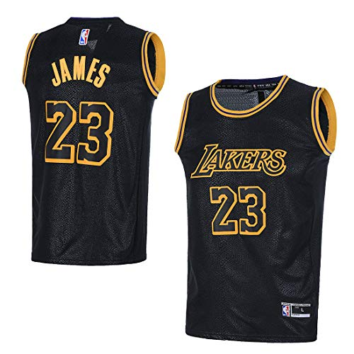 OuterStuff Youth Los Angeles Lakers #23 LeBron James Kids Basketball Jersey (YTH Medium 10/12, Black)