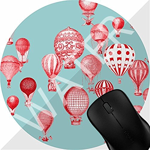 Mouse Pad Gaming Hot Air Balloons in Flight Red on Robins Egg Blue, Non Slip Mouse Mat for Office, Computer, Laptop & Mac - Durable & Comfortable & Lightweight 1M307 ()