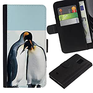 All Phone Most Case / Oferta Especial Cáscara Funda de cuero Monedero Cubierta de proteccion Caso / Wallet Case for Samsung Galaxy S5 Mini, SM-G800 // Cute Penguin Friends