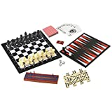 Best 7 in 1 Travel Game Set Adult Kids Man Men Checkers Chess Dominoes Backgammon & Many More Inexpensive Stocking Stuffer Gift Idea Married Couple Family Travelers by Table Top Games