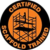 NMC HH68 2'' x 2'' PS Vinyl Label w/Legend: ''Certified Scaffold Trained'', 12 Packs of 25 pcs