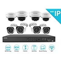 LaView 1080P Wi-Fi Wireless Security Camera System - 8 Channel IP NVR with 2TB HDD, 4 2MP Wifi Bullet & 4 2MP Wifi Dome Indoor/Outdoor, 100ft Night Vision Surveillance System