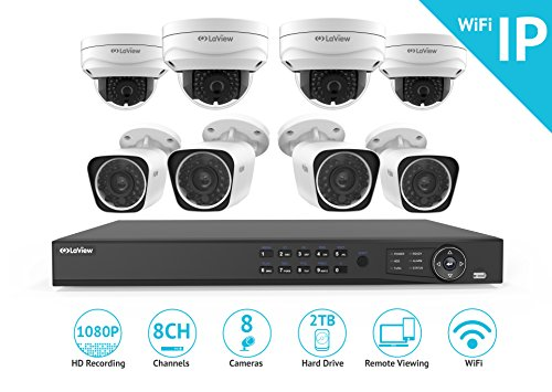 8 Channel Dvr Board (LaView 1080P Wi-Fi Wireless Security Camera System - 8 Channel IP NVR with 2TB HDD, 4 2MP Wifi Bullet & 4 2MP Wifi Dome Indoor/Outdoor, 100ft Night Vision Surveillance System)