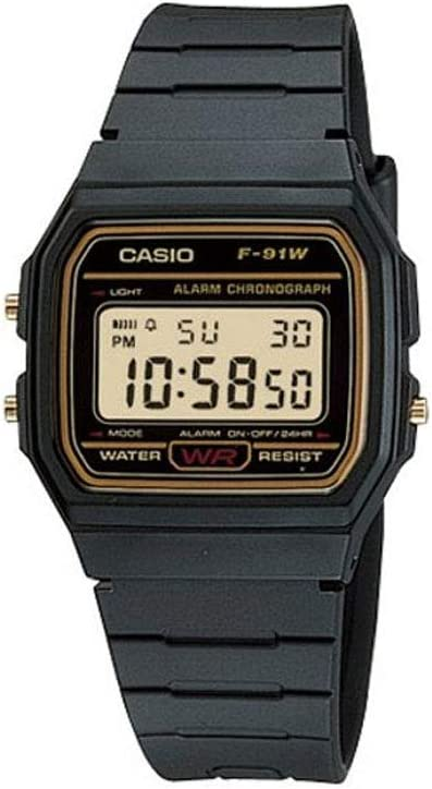 Casio F91WG-9 Men's Retro Black Band Gold Face Alarm Chronograph Digital Watch