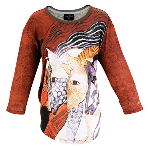 Laurel Burch Women's Top - 3/4 Sleeve T-Shirt - Moroccan Mares Horse Design - Large (Laurel Horse Burch Moroccan Mares)