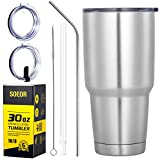 SOEOR Double Wall Vacuum Insulated Stainless Steel Tumbler With Straw And Spill Proof Lid, Travel Mug 30 oz Keeps Drinks Hot or Cold for Days, Fits Car Cup Holders,Coffee Mug