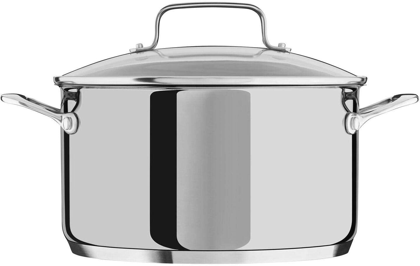 KitchenAid KC2S60LCLS 6-Quart Low Casserole Stockpot with Glass Lid in Polished Stainless Steel Pot