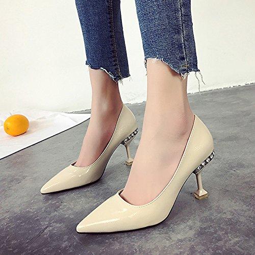 Qiqi scarpe principessa scarpe bene femminile superficiale alti bocca nude tacchi Scarpette donna Xue 36 nere con beige Scarpe P8wCddq