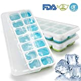 deccle 3 Packs Silicone Lids Easy Release Make 42 Large Flexible BPA Free Stackable Ice Cube Trays, Size:1.5