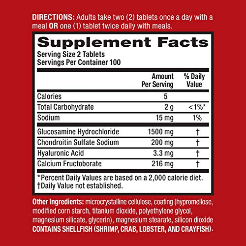 Glucosamine  Chondroitin Advanced Joint Health Supplement Tablets Move Free 200 count in a bottle