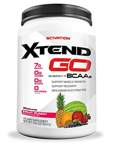 Scivation Xtend Go Amino Energy BCAA Powder for Pre Workout or Anytime Energy, BCAAs, Fruit Punch, 90 Servings