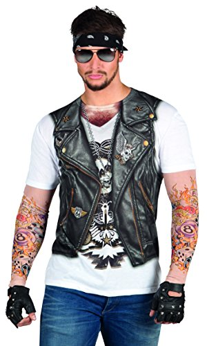 Faux Real Men's Biker Tee with Tattoo Mesh Sleeves, Black/White, Large]()