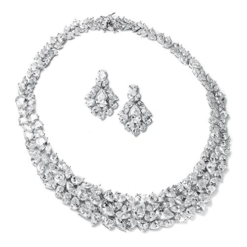 Mariell Ravishing Cubic Zirconia Statement Jewelry Necklace and Earrings Set for Weddings or Pageants by Mariell