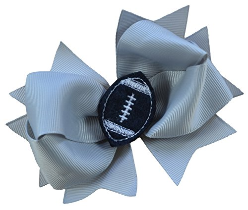 Girls Football Hair Bow 4.5 Inch Embroidered Football Team Hair Bow (Silver Gray Bow with Black - Raiders Applique Nfl