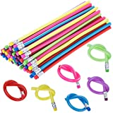 TecUnite 60 Pieces Bendable Pencil Flexible Bendy Soft Pencils with Eraser, Colorful