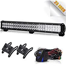 TURBOSII 25Inch Led Light Bar On Front Bumper Bull Bar Push Bar Grille Fog Lights For Truck Xj Vw Jetta Toyota Xterra Trailer Suzuki Eiger Boat Mower 4Wheeler Dodge Ram Jeep Chevy Tahoe Polaris