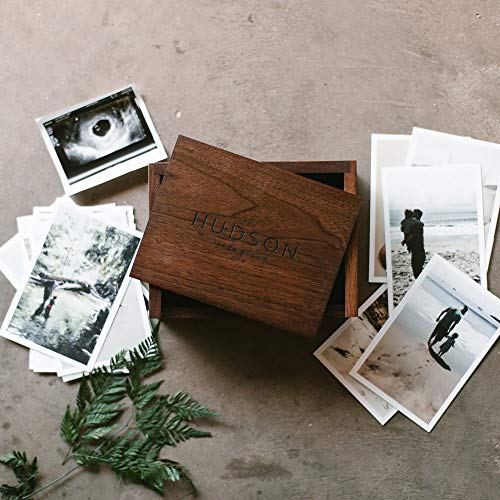 Small Keepsake Box - Engraved Wooden Box - Wood Photo Box - Personalized Walnut Memory Box - Wedding Card Box - Custom Wooden Box