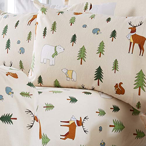 Home Fashion Designs Stratton Collection Extra Soft Printed 100% Turkish Cotton Flannel Sheet Set. Warm, Cozy, Lightweight, Luxury Winter Bed Sheets. (Queen, Wildlife) (Cotton Sheets Christmas)