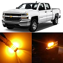 Alla Lighting 2pcs Super Bright Amber Yellow 7443 LED Light Bulbs Front Turn Signal Light Replacement for 2014~2017 Chevrolet Chevy Silverado 1500 2500 3500 HD