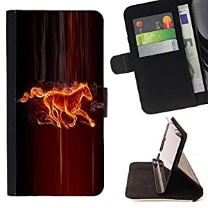DEVIL CASE - FOR Sony Xperia Z3 D6603 - Fire Horse Creature Fairytale Mythology Art - Style PU Leather Case Wallet Flip Stand Flap Closure Cover