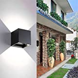 Ralbay Outdoor Wall Sconce, 12W Led Wall Sconces Wall Lights IP65 with Adjustable Beam Angle Design Outdoor Square Wall Lamp Waterproof Up & Down (3.94×3.94×3.94inch)