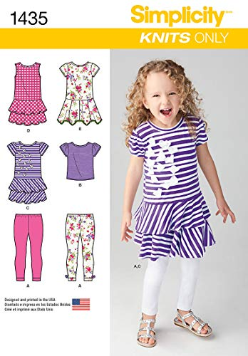Simplicity 1435 Girl's Knits Only Dress, Shirt, and Capri Legging Sewing Patterns, Sizes 3-8