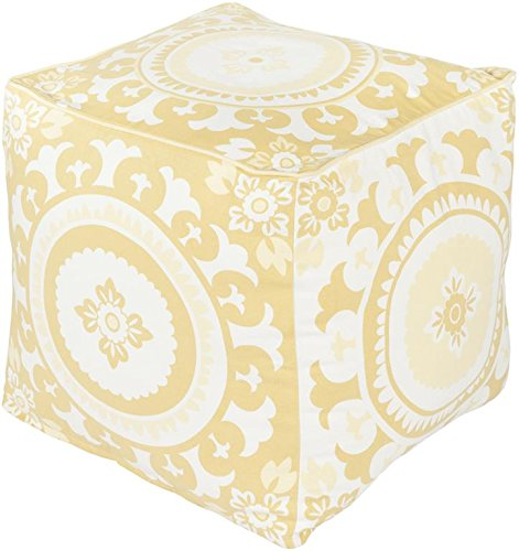 Surya KSPF-014 Kate Spain 100-Percent Cotton Pouf, 18-Inch by 18-Inch by 18-Inch, Lime/Ivory/Butter by Surya