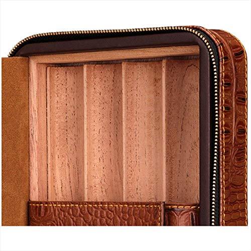 HYZXJHE Cigar Box Portable Cedar Box Leather Cedar Wood with Hygrometer Can Accommodate 4 Cigars by HYZXJHE (Image #3)