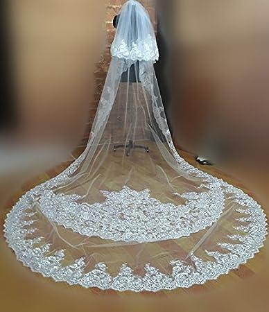Yu* Hochzeit Schleier Braut Kopfstück Zubehör One-Tier-Kathedrale Schleier / zwei Reihen von Blumen / Applique Edge Tulle Spitze mit Diamanten White Thornse