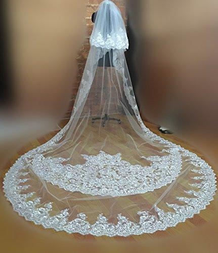 White D'applique Rangées À Dhc Étage Voile Deux Voiles Coiffure De Avec Mariage Bordure Diamant Un Mariée Tulle Cathédrale Fleurs Accessoires xHaSx
