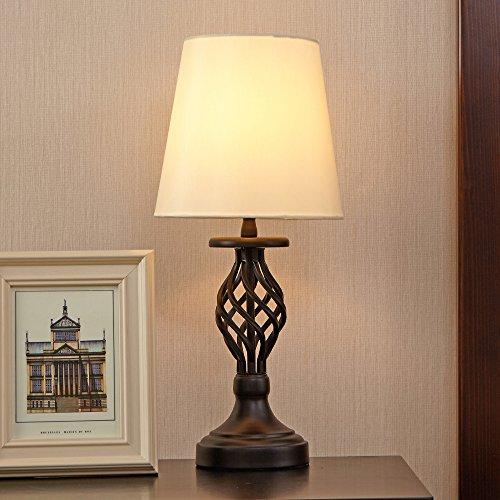 POPILION Vintage Hollowed Out Base Chic Modelling Metal Basic Livingroom Bedroom Bedside Table Lamp,Great Workmanship With White Fabric Shade - bedroomdesign.us