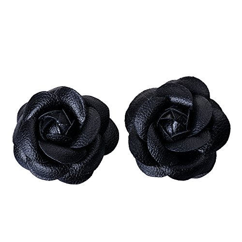 Douqu Faux Leather Rose Flower Winter Boots Wedding Sandals Black Shoe Clips Pair ()