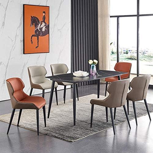 KLJLFJK Ensemble de 4 chaises de Salle à Manger Rouge Cuisine Chaise de Salle à Manger comptoir Salon Salon café siège Pieds en Acier avec Dossier et siège rembourré-Rouge