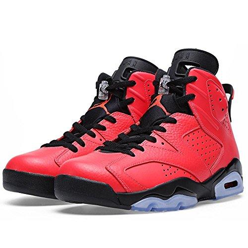 Nike Herren Air Jordan 6 Retro Leder Basketballschuhe Infrarot 23-schwarz
