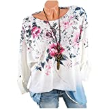Clearance Plus Size Clothing for Women - vermers Women Casual Long Sleeve T Shirt Fashion Floral Print O-Neck Tops(2XL, Light Blue)