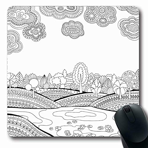 Ahawoso Mousepads for Computers Printable Sky Coloring Page Adults Lake Zentangle Nature Ink Book Black Pond River Design Ornate Oblong Shape 7.9 x 9.5 Inches Non-Slip Oblong Gaming Mouse Pad