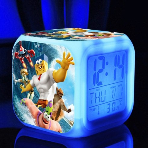 SpongeBob SquarePant Patrick Star Digital Alarm Desktop Clock with 7 Changing LED Clock Colorful Toys for Kids (Style 10)