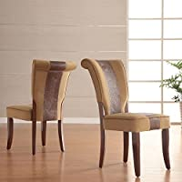 Metro Shop TRIBECCA HOME Andorra Velvet and Faux Alligator Leather Dining Chair (Set of 2)