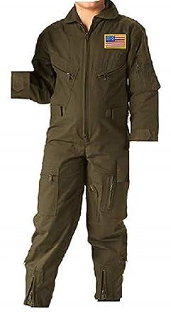 Amazon.com  Kids Future Pilot Olive Drab Coverall Flight Suit w Flag ... 685dcbc5272