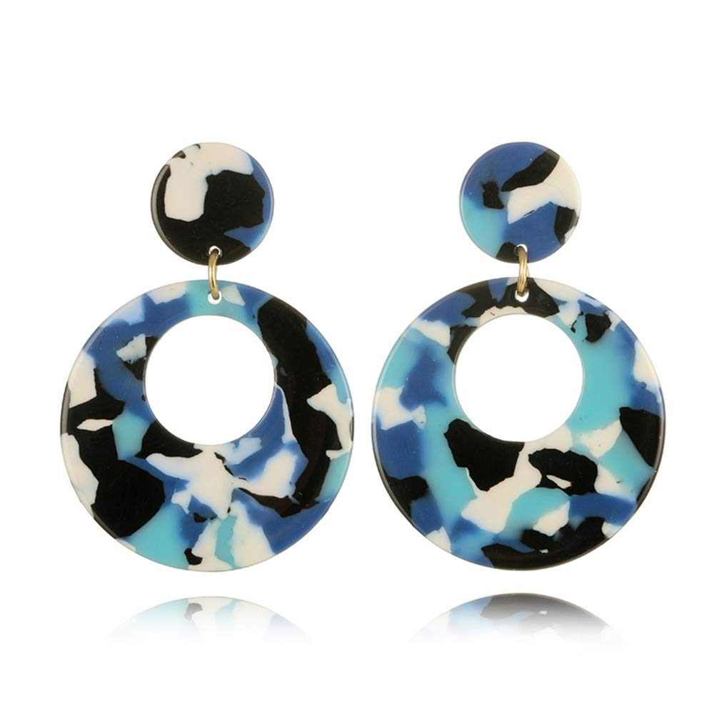 Acetate Circle Disc Dangle Earrings for Women Punk Acrylic Drop Earrings Geometry Resin Earrings MISSU JEWELLRY