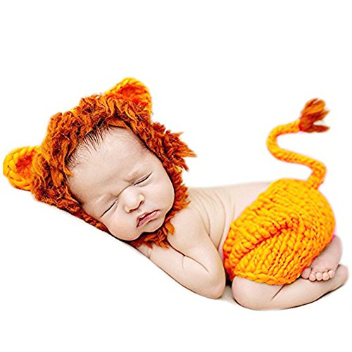 Newborn Baby Crochet Knitted Lion Photo Photography Props Handmade Unisex Baby Hat Diaper Outfit (Newborn Baby Costumes)