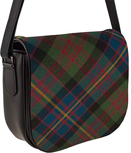Leather Handbag Shoulder Bag Cameron of Erracht Tartan Inside and Back Pocket