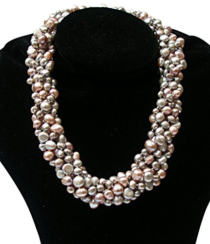 Striking Lilac/Silver Grey/Pink Baroque Cultured Pearl Six Strand Chunky 'Louisa' Necklace With Silver Clasp by Pearls Paradise (Image #2)