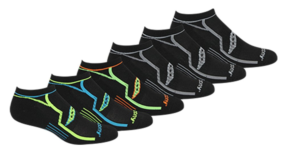 Saucony Men's Multi-Pack Performance Comfort Fit No-show Socks Black Large