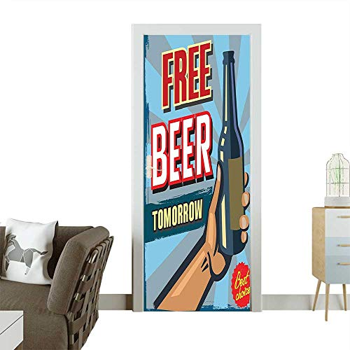 Door Sticker Wall Decals Arm Holding Bottle with Free Beer Quote Beverage Pub Offer Sale Fun Murky Easy to Peel and StickW36 x H79 INCH