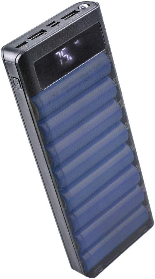 LHIABNN DIY Power Bank 8 x 18650 Flat Head Cargador de batería, 2 Puertos de Salida USB Caja de plástico con Pantalla LCD, Micro/teléfono/Type-C Puerto de Entrada Power Bank Box con Linterna: